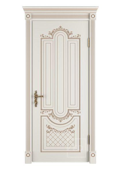 Межкомнатная дверь глухая Александрия 3D патина капучино