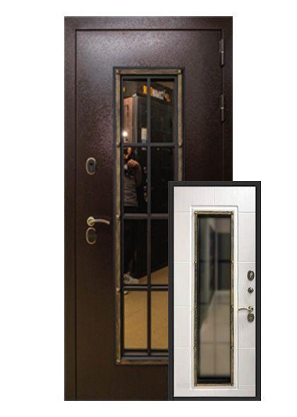 Входная дверь Англия с ковкой и стеклопакетом (левая)