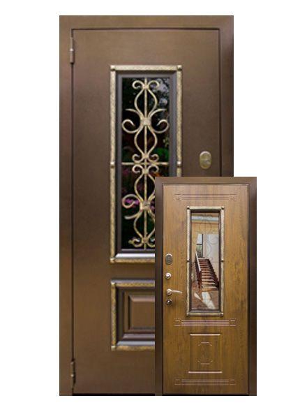 Входная дверь Ковка с ковкой и стеклопакетом (левая)